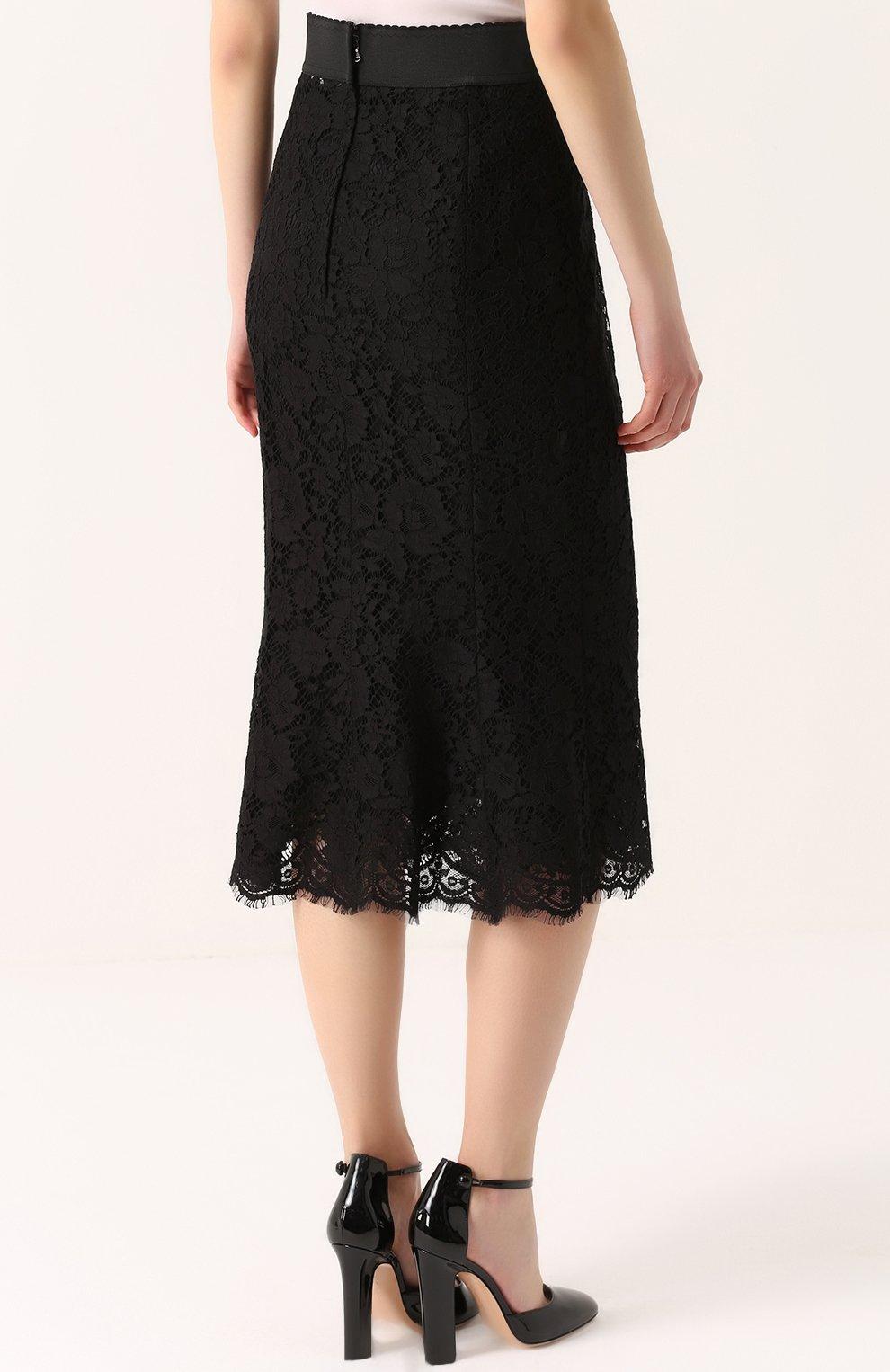 Кружевная юбка годе с широким поясом | Фото №4