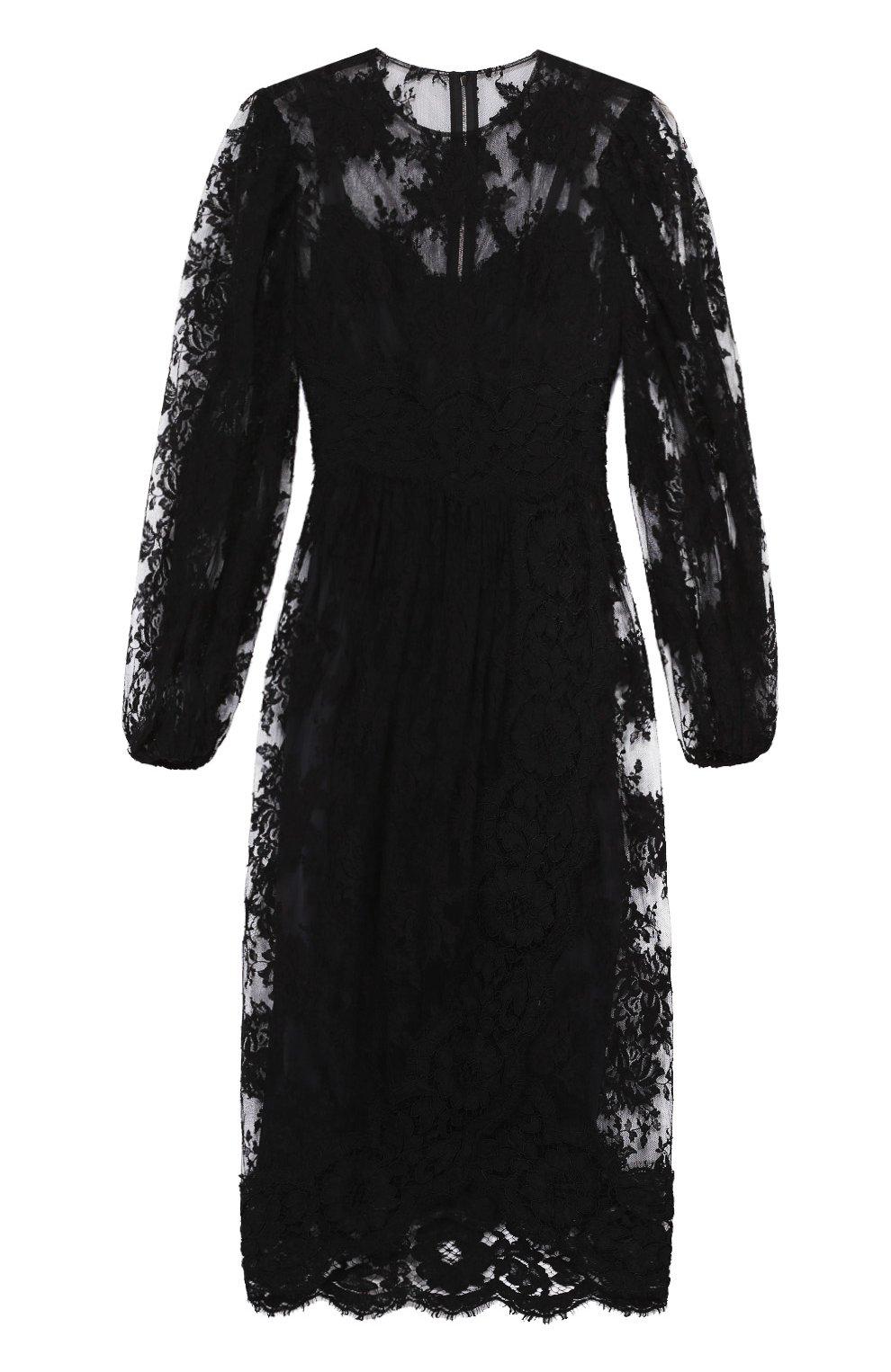 Приталенное кружевное платье с широкими рукавами | Фото №1