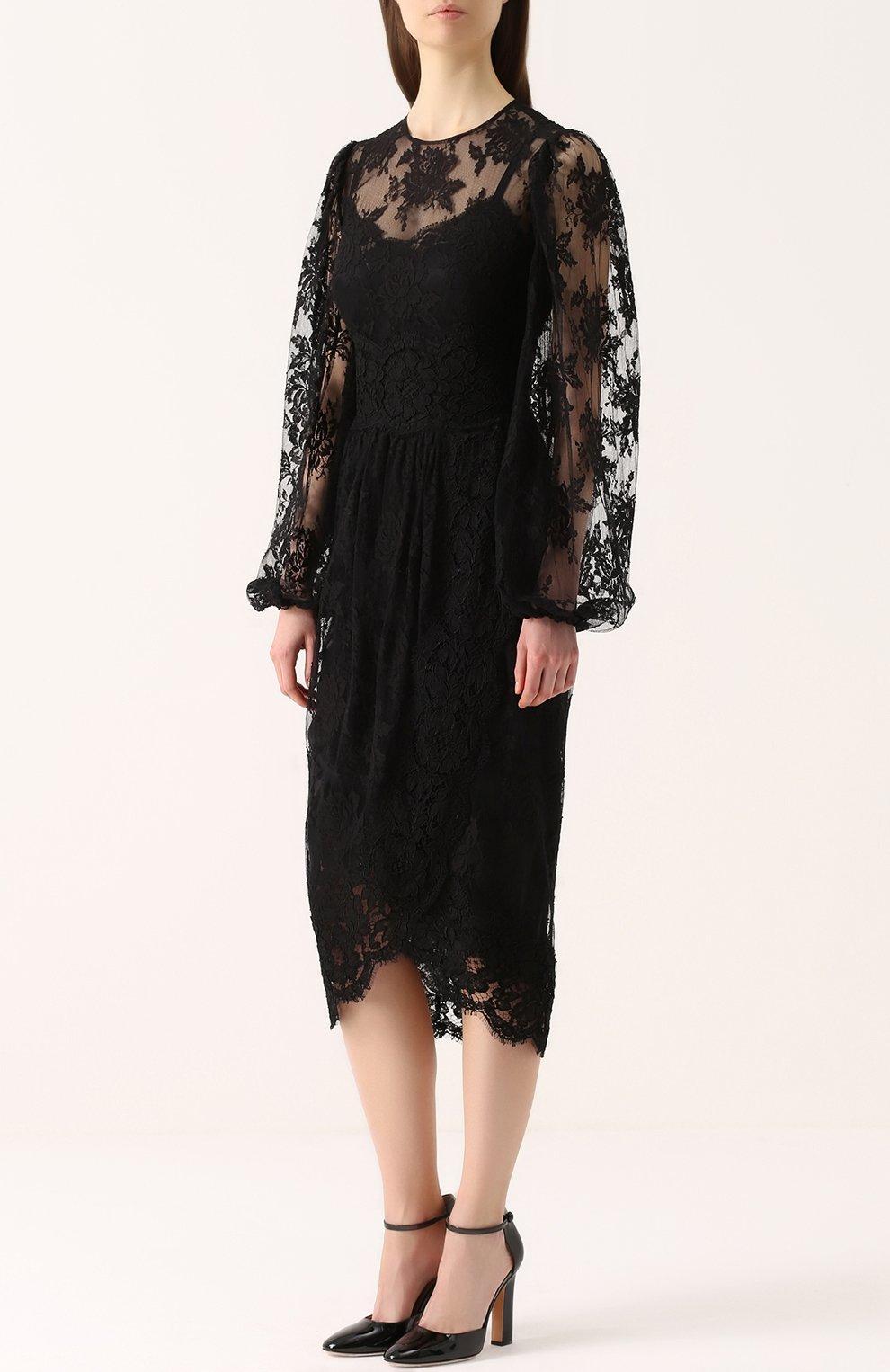 Приталенное кружевное платье с широкими рукавами | Фото №3