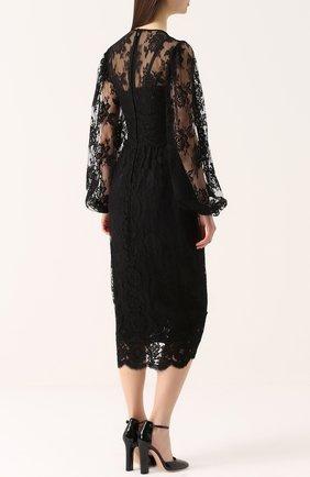 Приталенное кружевное платье с широкими рукавами | Фото №4