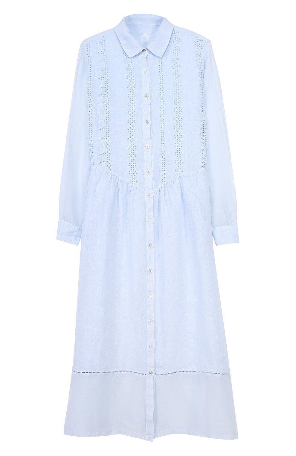 ace4873aee6d Женское голубое льняное платье-рубашка с полупрозрачными вставками ...