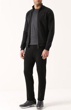 Хлопковая толстовка на молнии с воротником-стойкой Armani Jeans черный | Фото №1