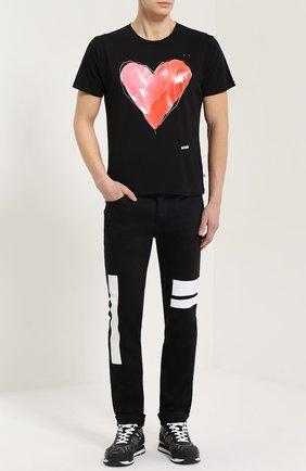 Хлопковая футболка с контрастным принтом One-T-Shirt черная | Фото №1