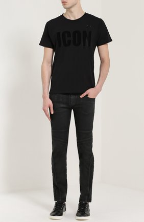 Хлопковая футболка c надписью One-T-Shirt черная | Фото №1