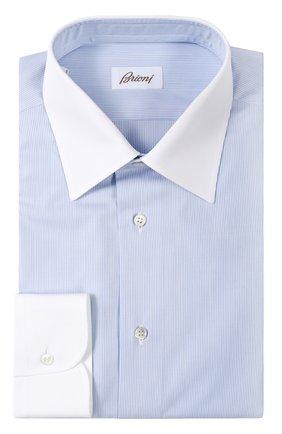 Мужская хлопковая сорочка с воротником кент BRIONI голубого цвета, арт. RCL8/P6062 | Фото 1