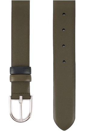 Мужской кожаный ремень с металлической пряжкой LORO PIANA темно-синего цвета, арт. FAG1868 | Фото 2