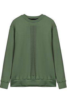 Пуловер прямого кроя с перфорацией Ultracor зеленого цвета   Фото №1