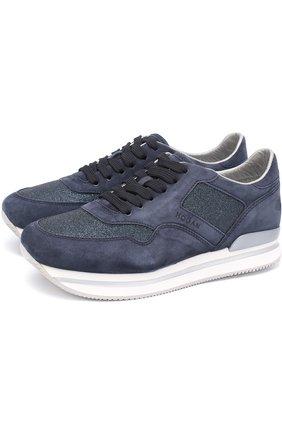 Замшевые кроссовки с вставками из текстиля | Фото №1