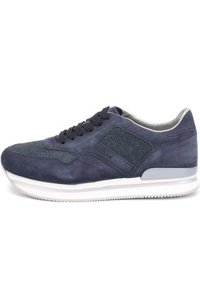 Замшевые кроссовки с вставками из текстиля | Фото №3