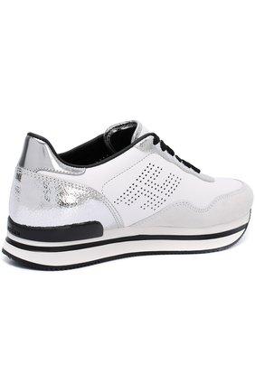 Кожаные кроссовки с вставками из замши   Фото №4