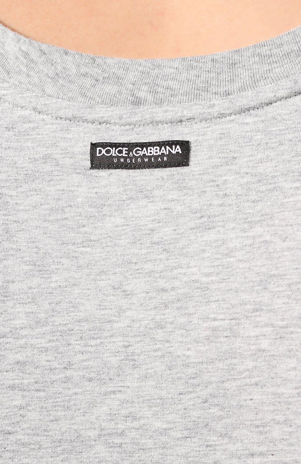 Комплект из двух хлопковых маек с круглым вырезом Dolce & Gabbana серая   Фото №5