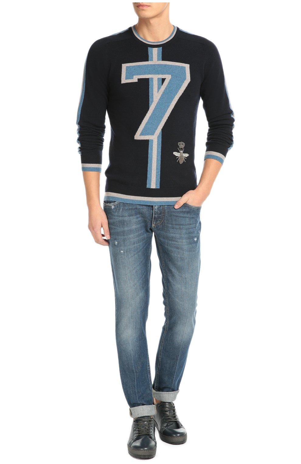 Кашемировый джемпер с контрастной отделкой и вышивкой Dolce & Gabbana темно-синий | Фото №2