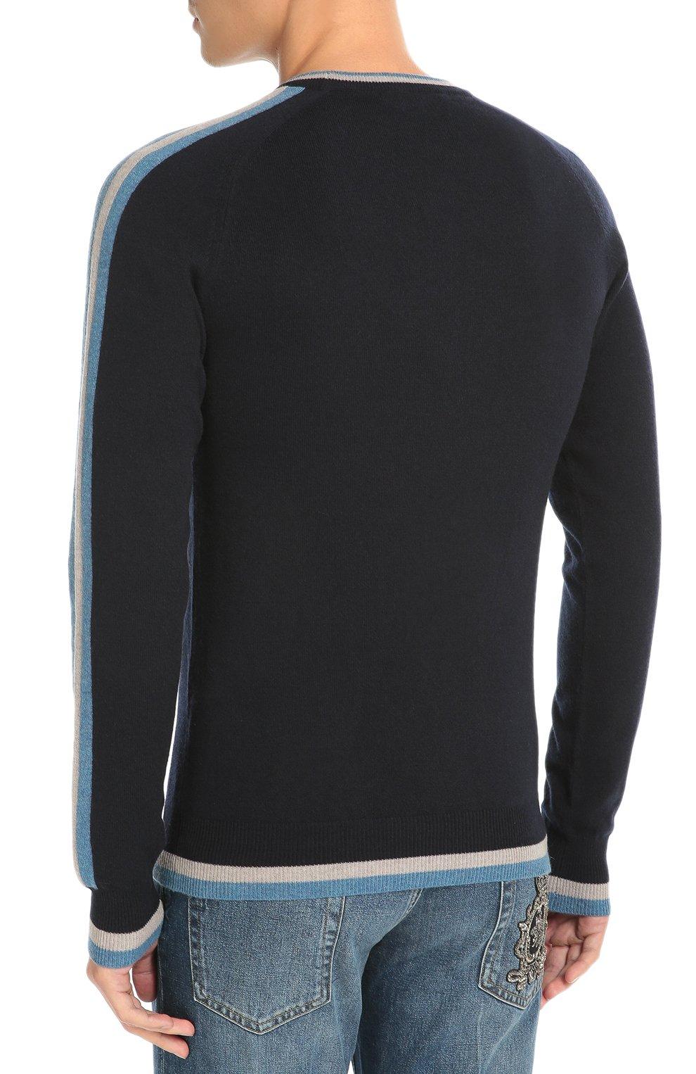 Кашемировый джемпер с контрастной отделкой и вышивкой Dolce & Gabbana темно-синий | Фото №4