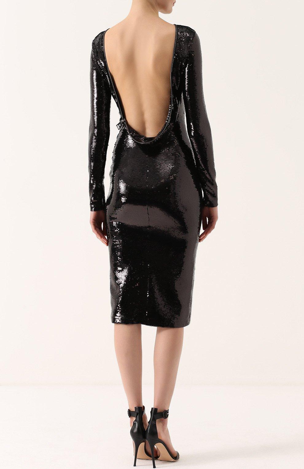 5fab663459b Женское черное платье-футляр с пайетками и открытой спиной TOM FORD ...