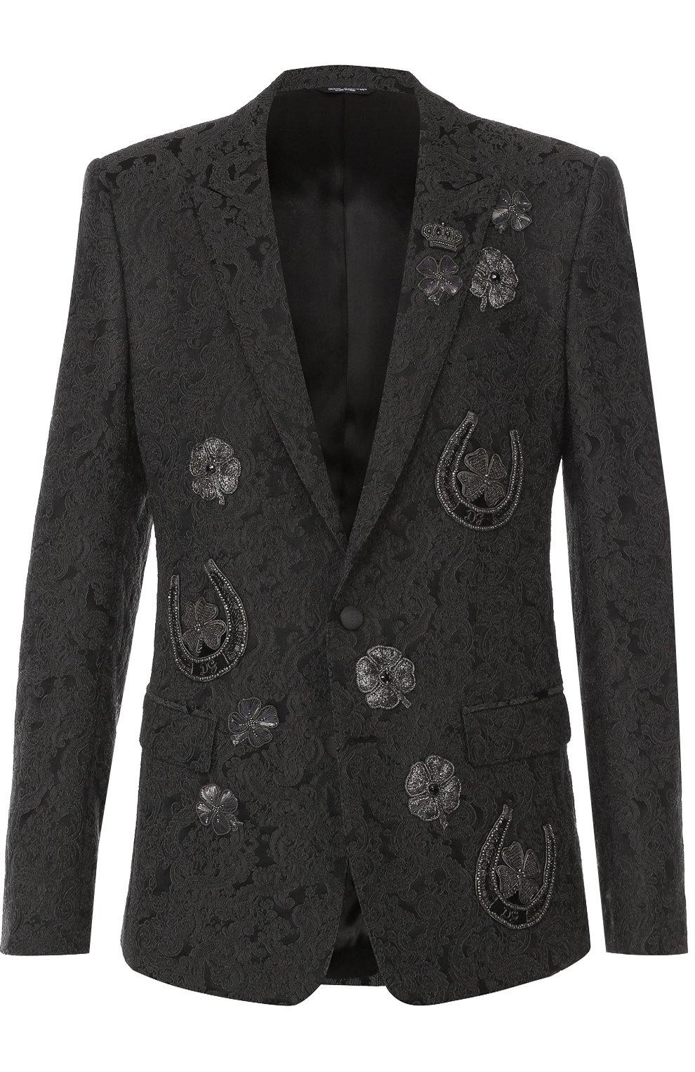 Однобортный приталенный пиджак с вышивкой | Фото №1