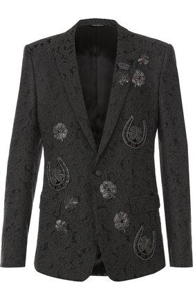 Однобортный приталенный пиджак с вышивкой Dolce & Gabbana темно-серый | Фото №1