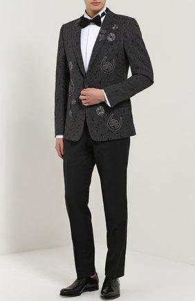 Однобортный приталенный пиджак с вышивкой Dolce & Gabbana темно-серый | Фото №2