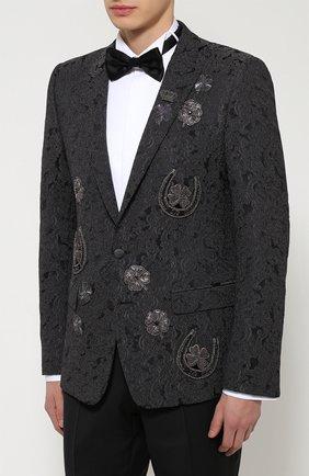 Однобортный приталенный пиджак с вышивкой Dolce & Gabbana темно-серый | Фото №3