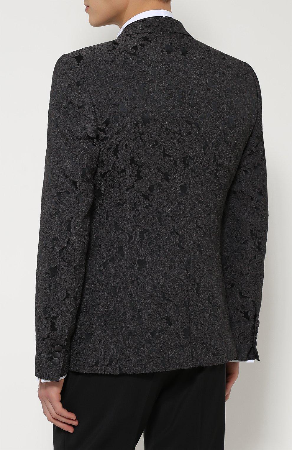 Однобортный приталенный пиджак с вышивкой Dolce & Gabbana темно-серый | Фото №4