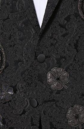 Однобортный приталенный пиджак с вышивкой Dolce & Gabbana темно-серый | Фото №5