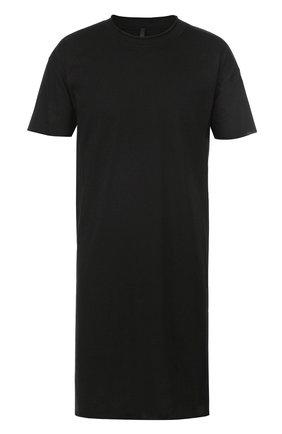 Удлиненная хлопковая футболка с круглым вырезом Barbara I Gongini черная | Фото №1