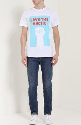 Хлопковая футболка с принтом Dedicated белая | Фото №1