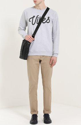 Хлопковый свитшот с контрастной нашивкой Dedicated серый | Фото №1