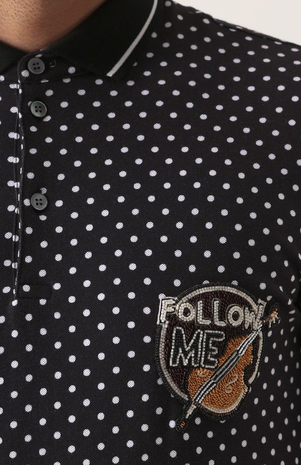 Хлопковое поло с узором Polka Dot и вышивкой | Фото №5