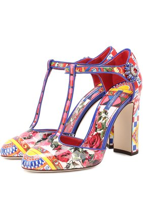 Туфли Vally с принтом на устойчивом каблуке Dolce & Gabbana разноцветные | Фото №1