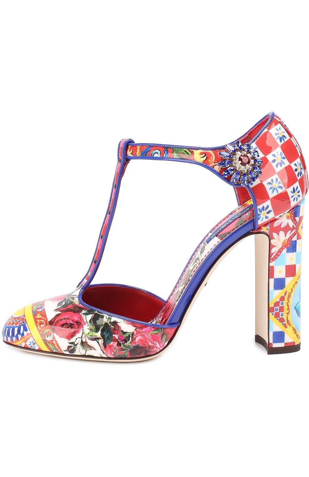 Туфли Vally с принтом на устойчивом каблуке Dolce & Gabbana разноцветные | Фото №3