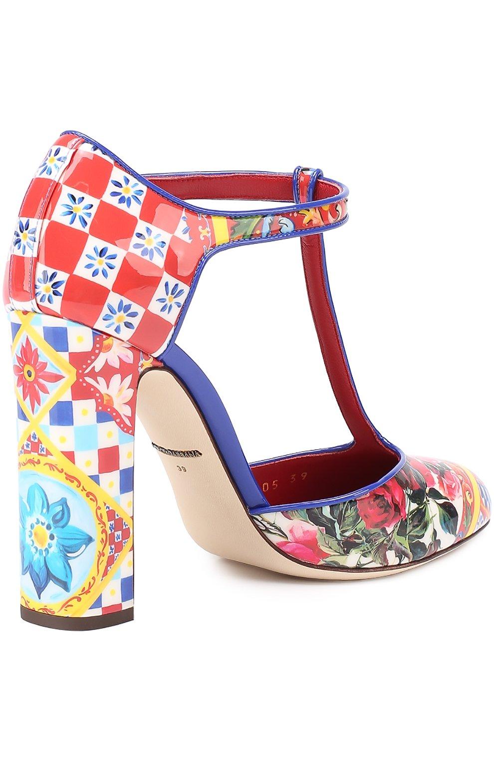 Туфли Vally с принтом на устойчивом каблуке Dolce & Gabbana разноцветные | Фото №4