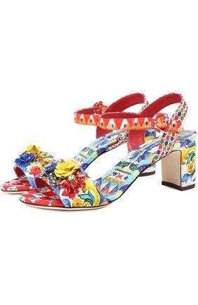 Босоножки из текстиля с аппликациями Dolce & Gabbana разноцветные | Фото №1