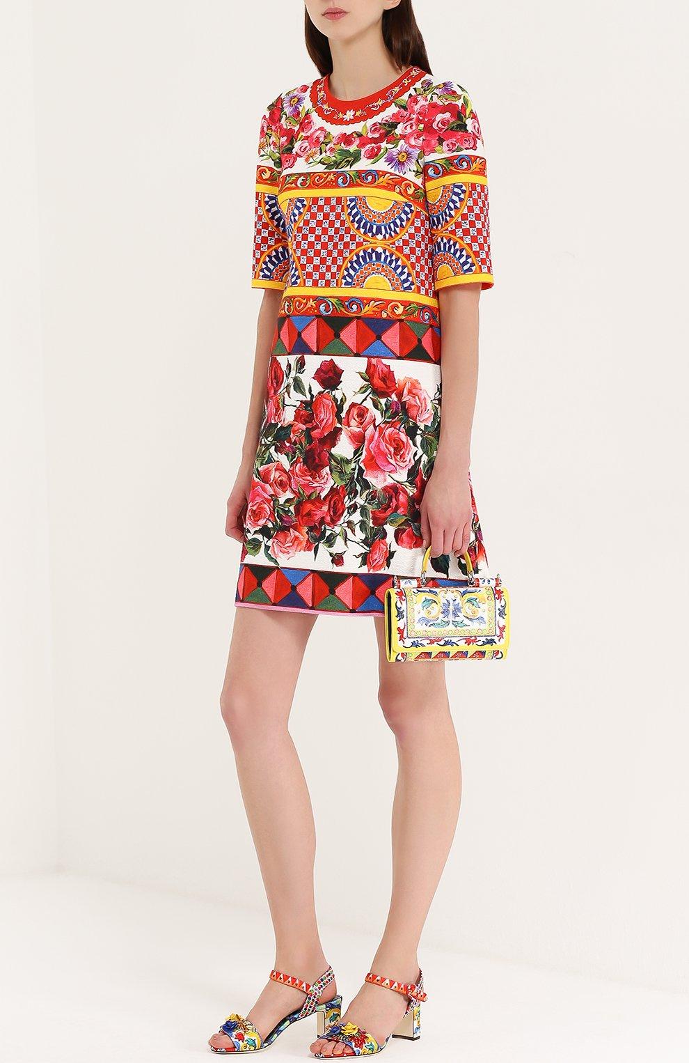 Босоножки из текстиля с аппликациями Dolce & Gabbana разноцветные | Фото №2