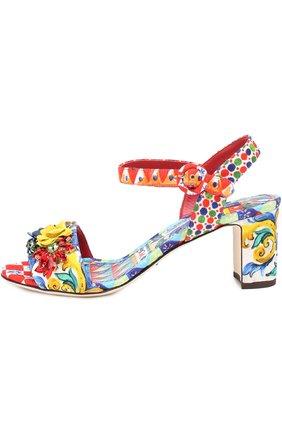 Босоножки из текстиля с аппликациями Dolce & Gabbana разноцветные | Фото №3