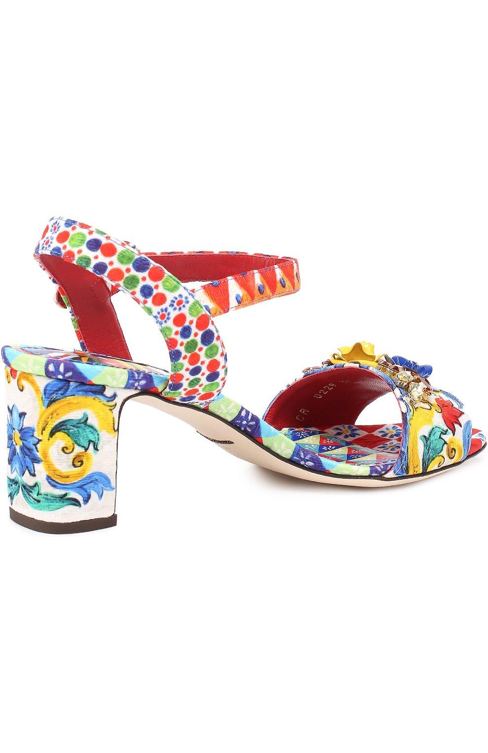 Босоножки из текстиля с аппликациями Dolce & Gabbana разноцветные | Фото №4