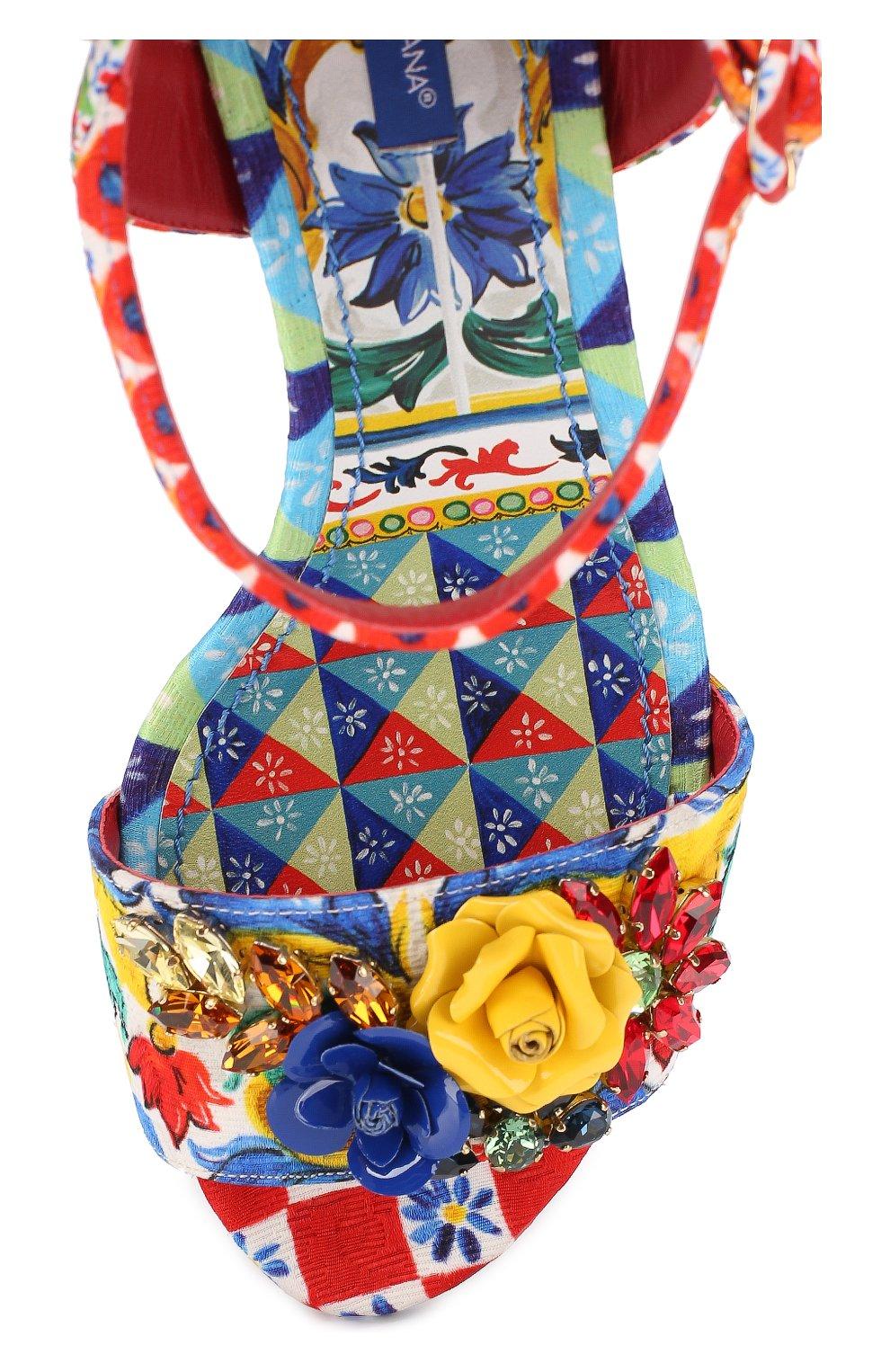 Босоножки из текстиля с аппликациями Dolce & Gabbana разноцветные | Фото №5