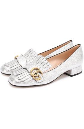 Туфли Marmont из металлизированной кожи с бахромой и пряжкой | Фото №1