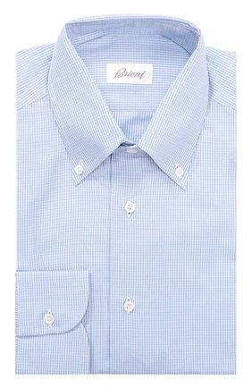 Мужская классическая сорочка в мелкую клетку BRIONI голубого цвета, арт. RCL9/0500D | Фото 1