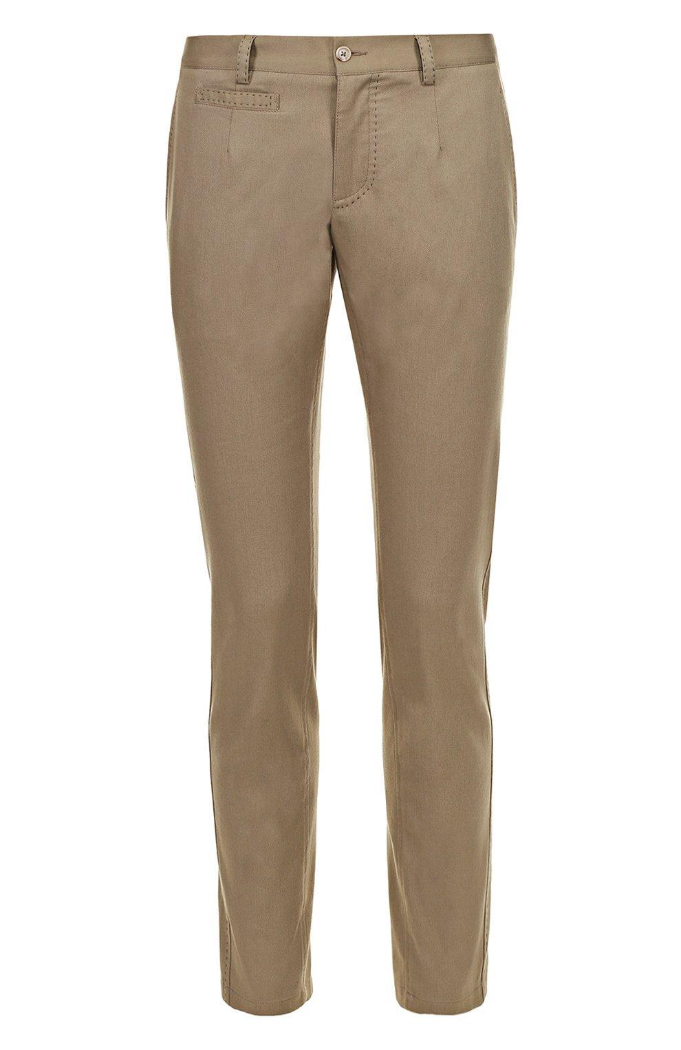 Хлопковые брюки прямого кроя с контрастной прострочкой | Фото №1