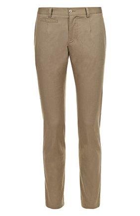 Хлопковые брюки прямого кроя с контрастной прострочкой Dolce & Gabbana бежевые | Фото №1