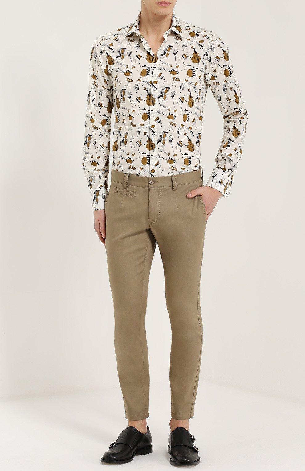 Хлопковые брюки прямого кроя с контрастной прострочкой Dolce & Gabbana бежевые | Фото №2