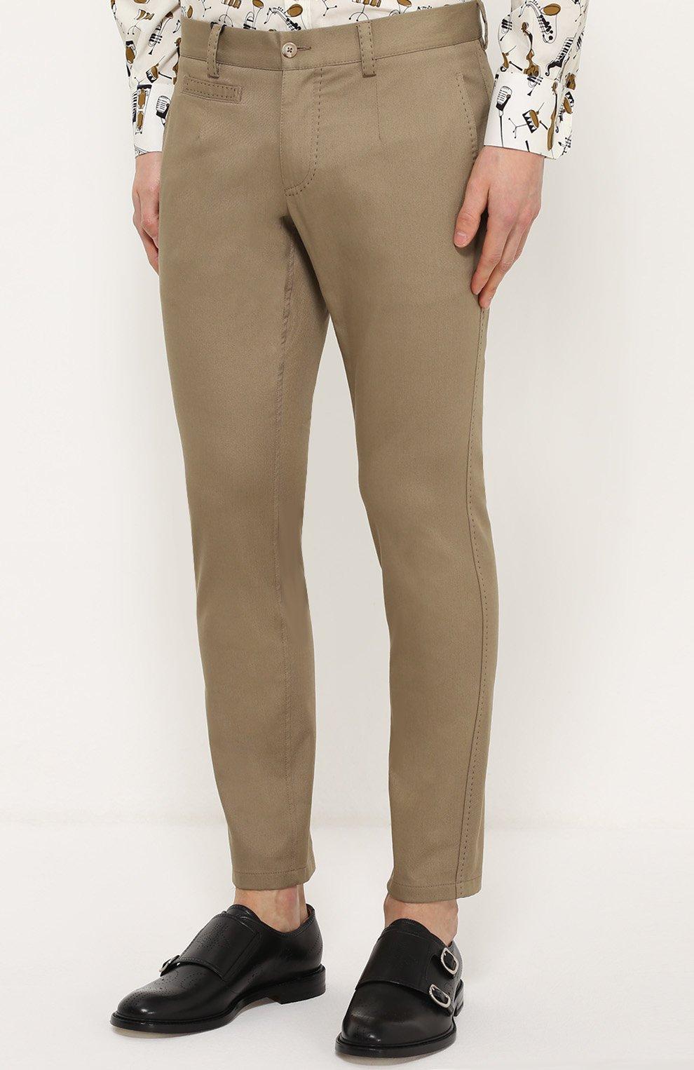 Хлопковые брюки прямого кроя с контрастной прострочкой Dolce & Gabbana бежевые | Фото №3