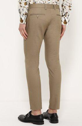 Хлопковые брюки прямого кроя с контрастной прострочкой Dolce & Gabbana бежевые | Фото №4