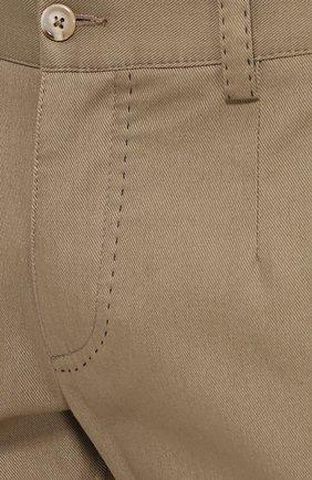 Хлопковые брюки прямого кроя с контрастной прострочкой Dolce & Gabbana бежевые | Фото №5