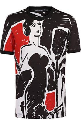 Хлопковая футболка с принтом Dolce & Gabbana черная | Фото №1