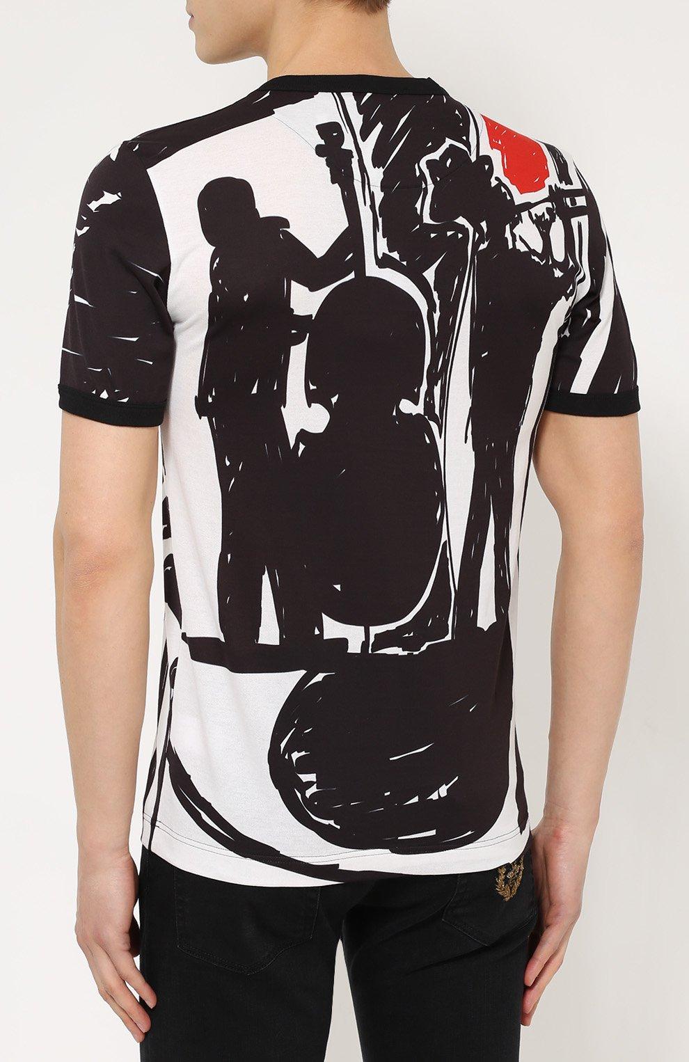 Хлопковая футболка с принтом Dolce & Gabbana черная | Фото №4