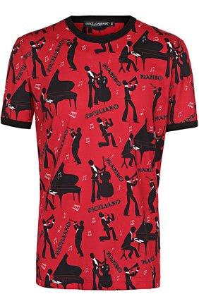 Хлопковая футболка с принтом Dolce & Gabbana красная   Фото №1