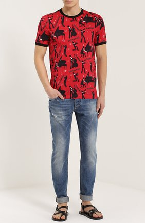 Хлопковая футболка с принтом Dolce & Gabbana красная   Фото №2