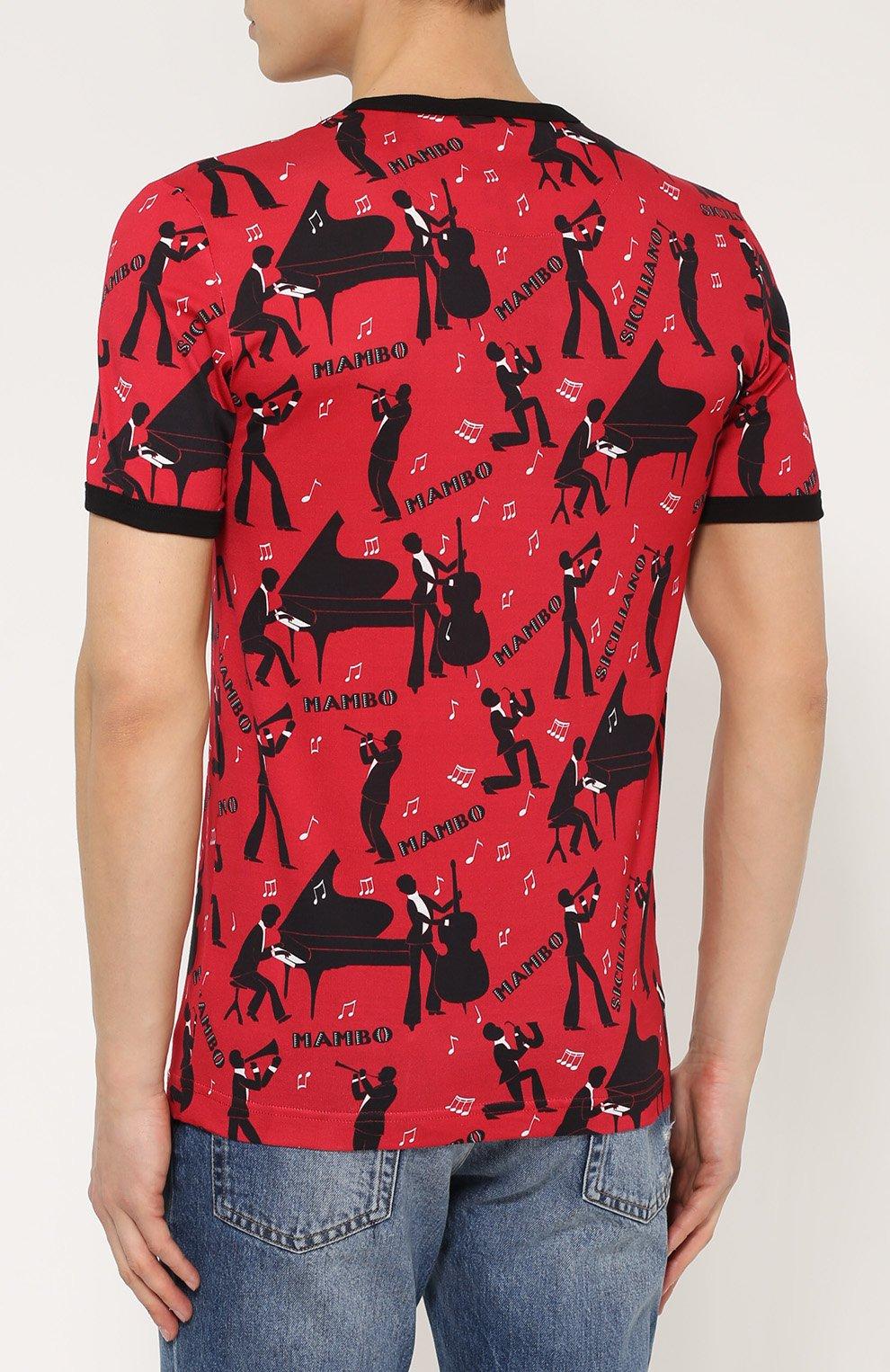 Хлопковая футболка с принтом Dolce & Gabbana красная   Фото №4