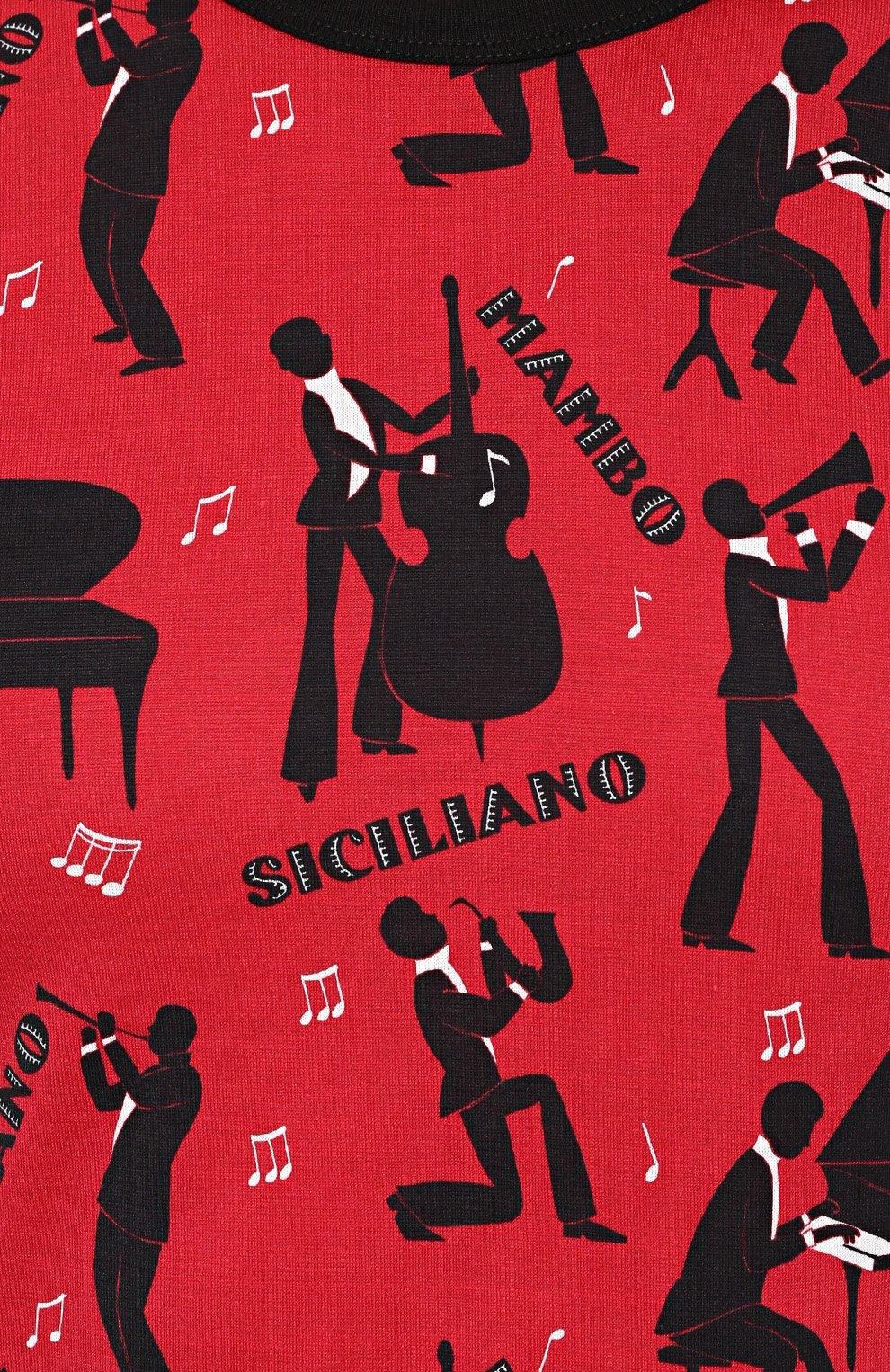 Хлопковая футболка с принтом Dolce & Gabbana красная   Фото №5